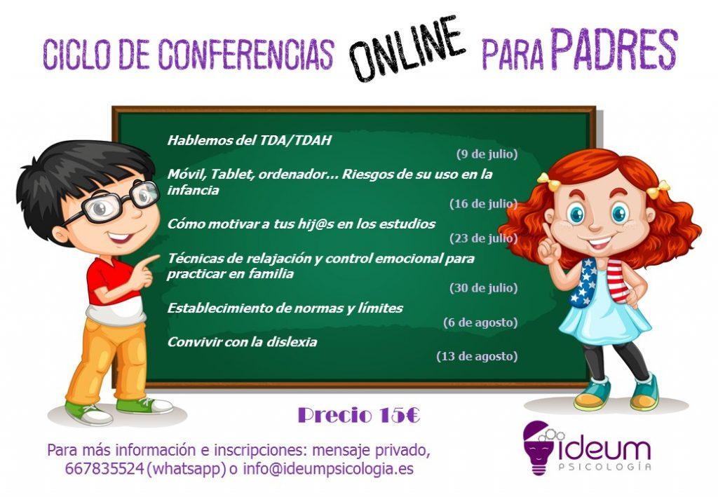 Cartel conferencias online padres 2020 - Ideum Psicología - Rivas